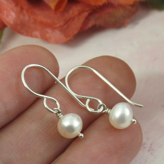 Classic earrings for every girl's closet!: Classic Earrings, Girl Closet, Girl S Closet I, Girls, Pearl Earrings, White Pearls, Freshwater Pearls, Sterling Silver, Wedding Dress