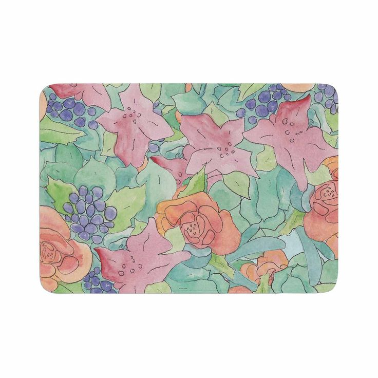 "Catherine Holcombe ""Southwestern Floral "" Green Purple Memory Foam Bath Mat"
