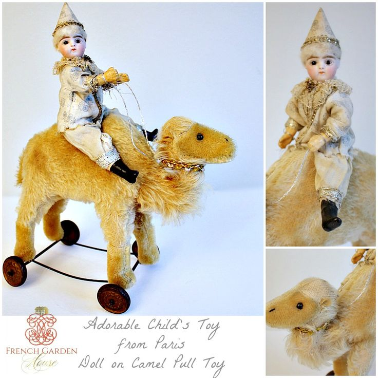 Rare Antique French Francois Gaultier Doll Riding on Camel Pull Toy