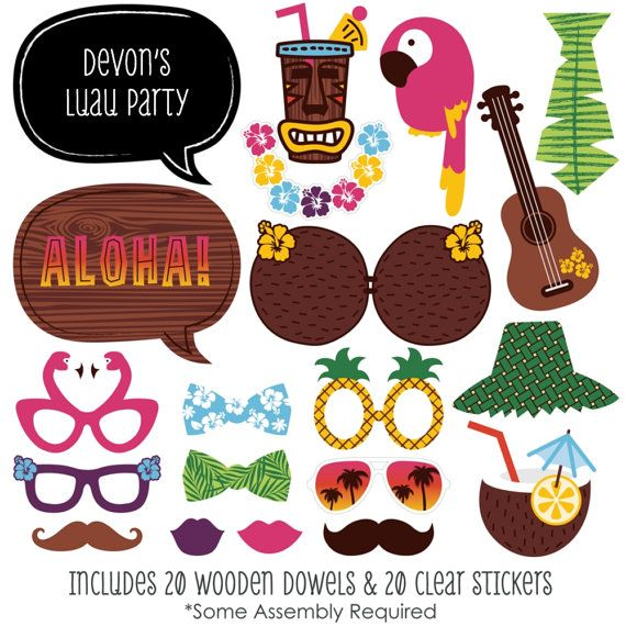 20 luau Photo Booth Props Kit Photobooth par BigDotOfHappiness