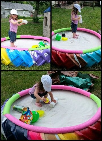 Tractor Tire+ spray paint +fun noodles + SAND! Idea came from pinterest & it is a perfect idea for a sandbox. Made last summer for my daughter. She loves it:)
