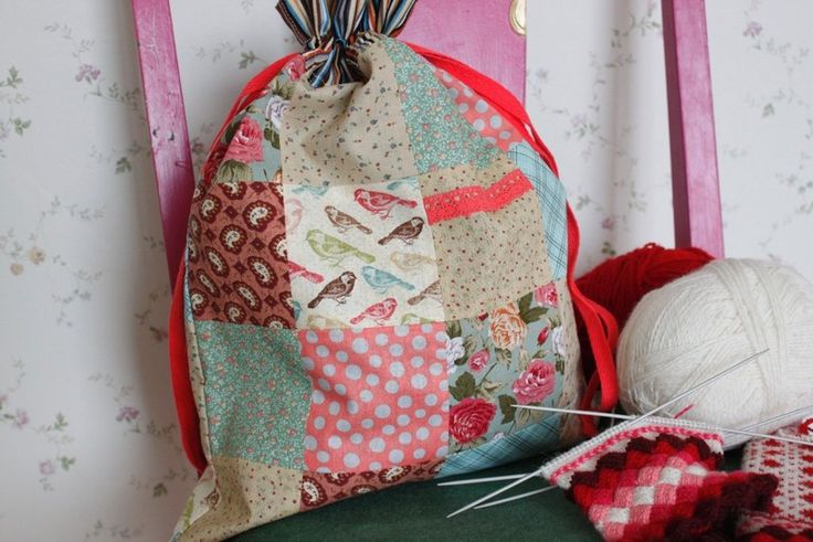 Knitting Bag Project Bag Patchwork from From Lucky Lonny With Love by DaWanda.com