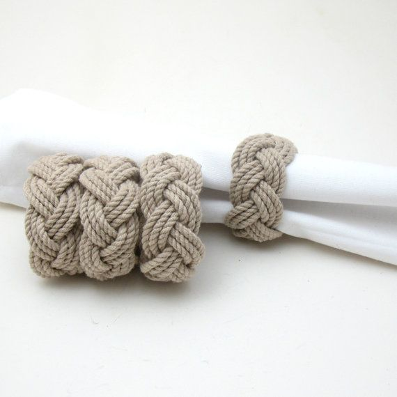 Tan Nautical Knot Napkin Rings Pack of 4 by MysticKnotwork on Etsy, $13.00