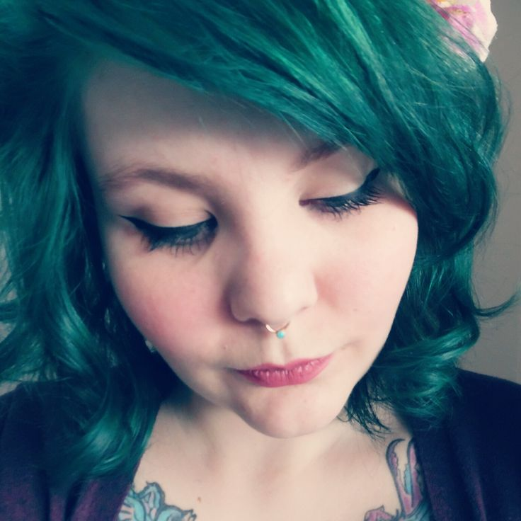 I dyed my hair teal :) I mixed Directions Alpine Green and Ebony