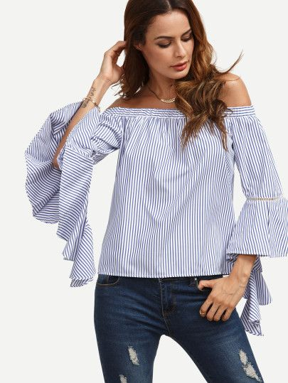 for CAMPACHE!_Blue Striped Off The Shoulder Ruffle Sleeve Blouse