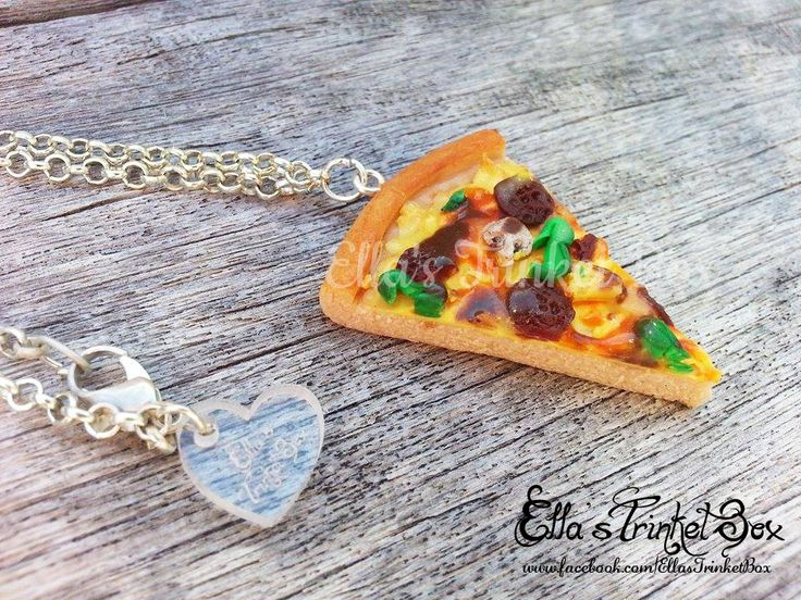 Handmade Pizza Necklace  Available at www.facebook.com/EllasTrinketBox
