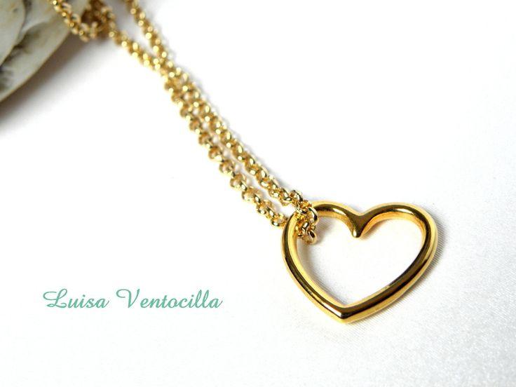 Schöne zarte Halskette mit Herz von Luisa Ventocilla Shop auf DaWanda.com