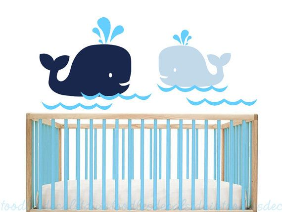 Hampton baleine Wall Decal enfants baleines par ToodlesDecalStudio