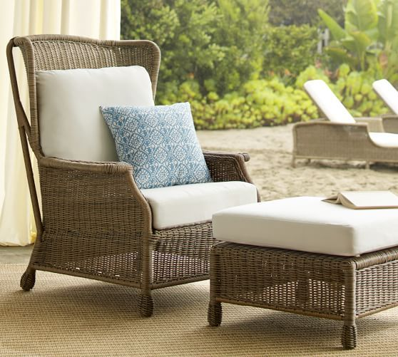Saybrook All-Weather Wicker Wingback Armchair | Pottery Barn $699 includes cushion