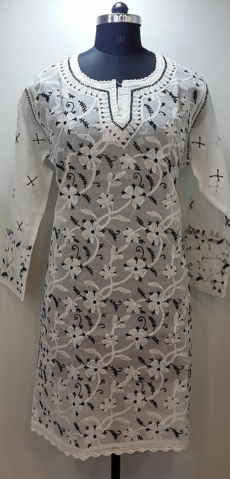 Lucknow Chikan Online Kurti White Cotton with very fine chikankari murri, shadow & kangan work with designer neckline  $27