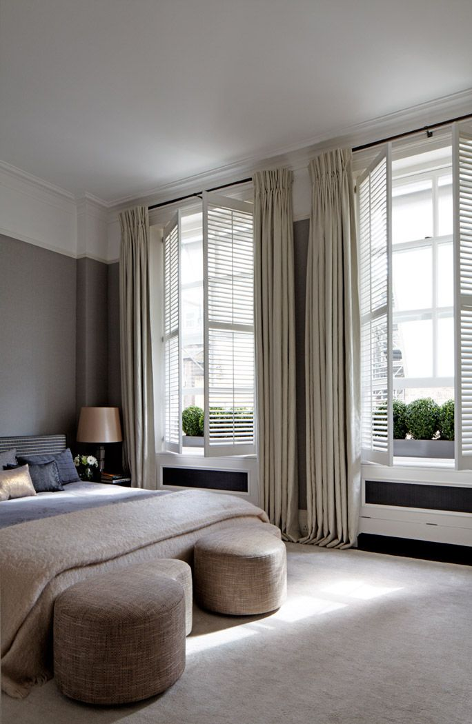 Nice with shutters and curtains to warm the scheme  Curtain  Pinterest