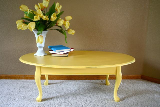 Oval Yellow Coffee Table