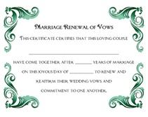 Free Renewal of Wedding Vows Printable Certificates Templates