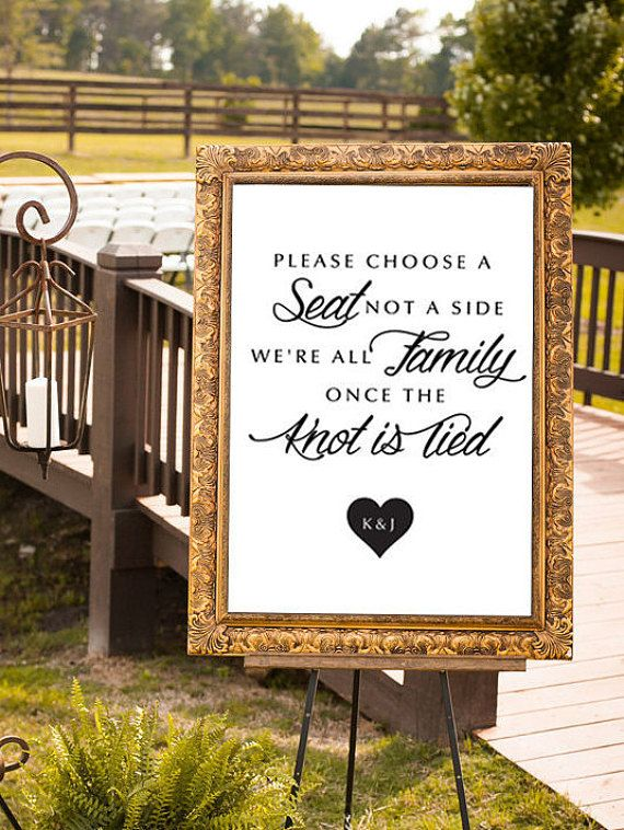 Choose a Seat Not a Side, Wedding Sign, We're All Family, Modern Poster, Wedding Sign, Ceremony Sign, Wedding Signage, DIGITAL, Any Size