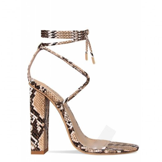 961d0bd456e Tifany Beige Snake Clear Lace Up Block Heels   Simmi Shoes ...