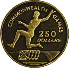 Cayman Islands: , Cayman Islands: Elizabeth II gold 250 Dollars 1986, KM84, Proof 68Ultra Cameo NGC, extremely rare type struck for the CommonwealthGames, t...
