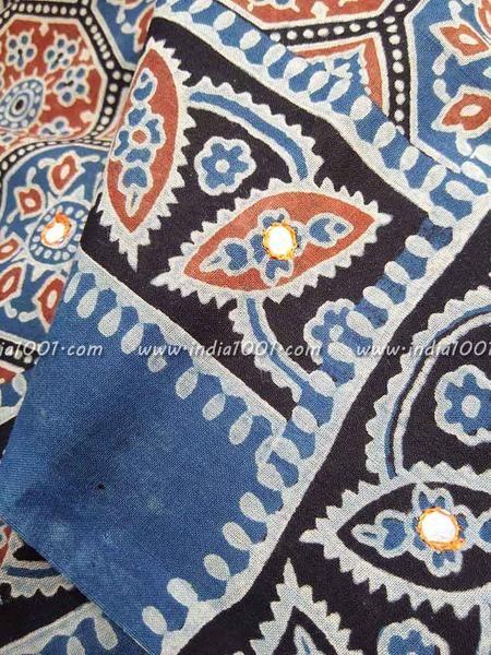 Elegant Cotton Saree With Kutch Ajrakh Block Printing & Mirror work