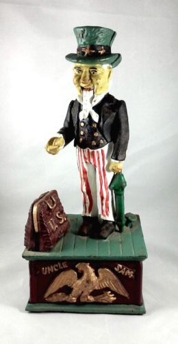 Uncle Sam cast iron coin bank!