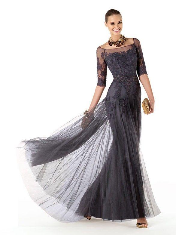 Glamouröse Brautmutterkleider lang Tüll mit Ärmeln
