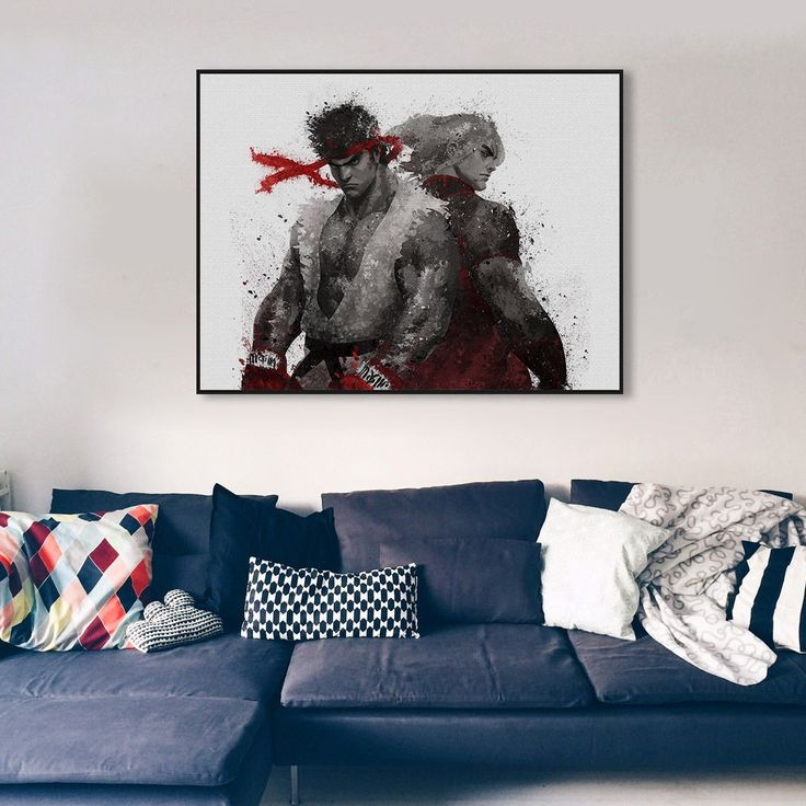 Watercolor Street Fighter Ryu Ken Game Poster Boy Room Decor Art Canvas Painting