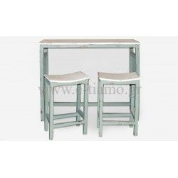 Τραπέζι Ξύλινο Πάσο με δύο ΣκαμπόΔΙΑΣΤΑΣΕΙΣ: ΤΡΑΠΕΖΙ 106cm x 40cm x 92Ycm ΣΚΑΜΠΟ 38cm x 25cm x 61Ycm