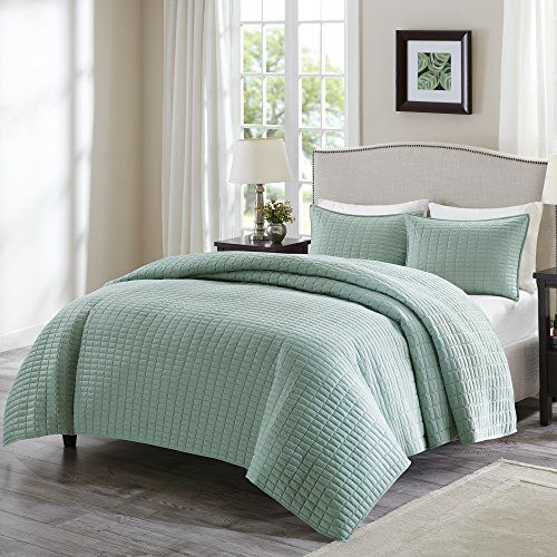 Comfort Spaces  Kienna Mini Quilt Set  3 Piece  Seafoam Stitched Quilt Pattern  King size includes 1 Quilt 2 Shams -- You can find out more details at the link of the image.