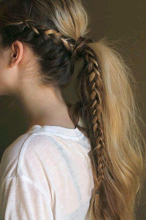 Wild horse: Full length side braid + volume wrap around ponytail. #hair