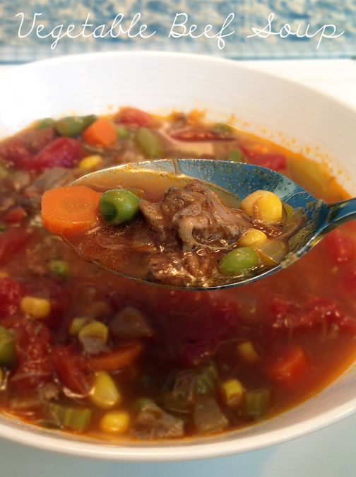 This Vegetable Beef Soup recipe uses leftover pot roast & vegetables from the freezer to create a simple, hearty dish that will warm your bones on a chilly day. From the Kikiverde Handmade blog.