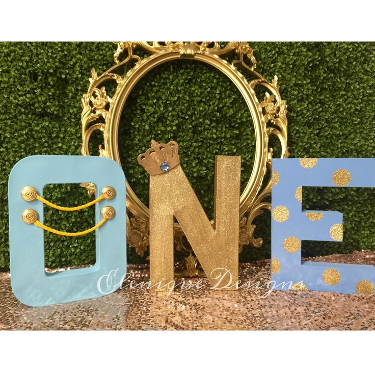 "Oversized ""ONE"" letters for a Blue and Gold Little Prince Party by EleniqueDesigns on Etsy https://www.etsy.com/listing/256075539/oversized-one-letters-for-a-blue-and"