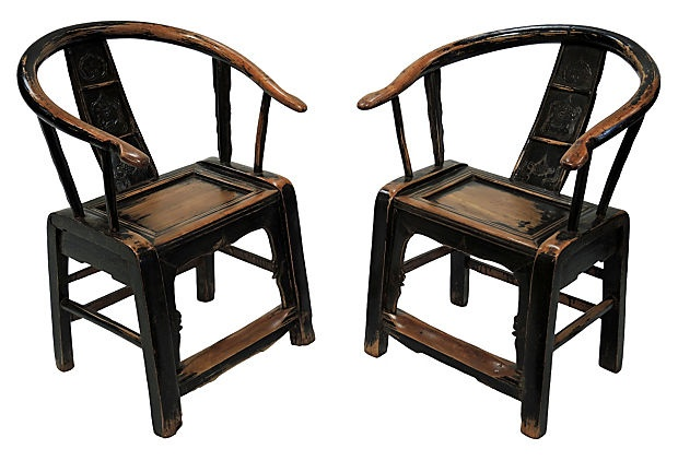 Chinese Antique Horseshoe Chairs, Pair on OneKingsLane.com | Home decor |  Pinterest | Chinese antiques, Grand designs and Exterior - Chinese Antique Horseshoe Chairs, Pair On OneKingsLane.com Home
