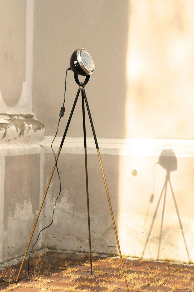 New Tripod Lampe Manufaktur Stehlampe schwarz auf antikem Fotostativ Bauhaus Stil de picclick