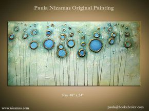 Painting, Gold, Bronze, Rust, Blue, Ready to Hang by Paula Nizamas ...