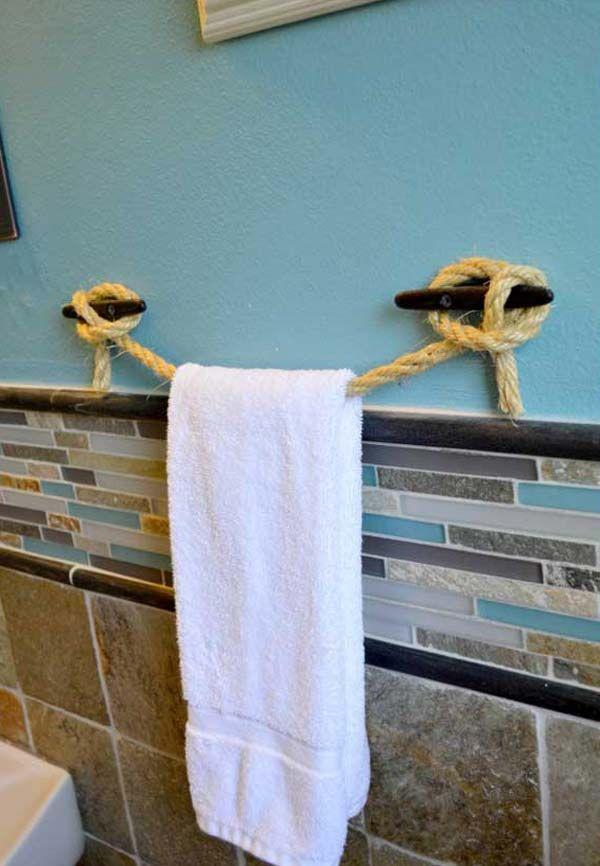 32 of The Most Genius DIY Projects to Keep Bath Towels Organized. Best 25  Diy towel holders ideas on Pinterest   Diy bathroom towel