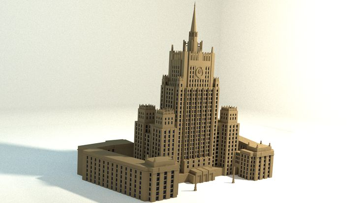 Buy MFA building: https://www.cgtrader.com/3d-models/exterior/exterior-public/russian-mfa-building https://www.highend3d.com/3d-model/russian-mfa-building-3d-model  This is a low-poly model of Russian MFA building. It is done based on the original draft.  The Ministry of Foreign Affairs of Russia building is one of seven Stalinist skyscrapers, designed and overseen by V.G.Gelfreih and A.B.Minkus. It was completed in 1953. Its' height is 172 m (564 ft).