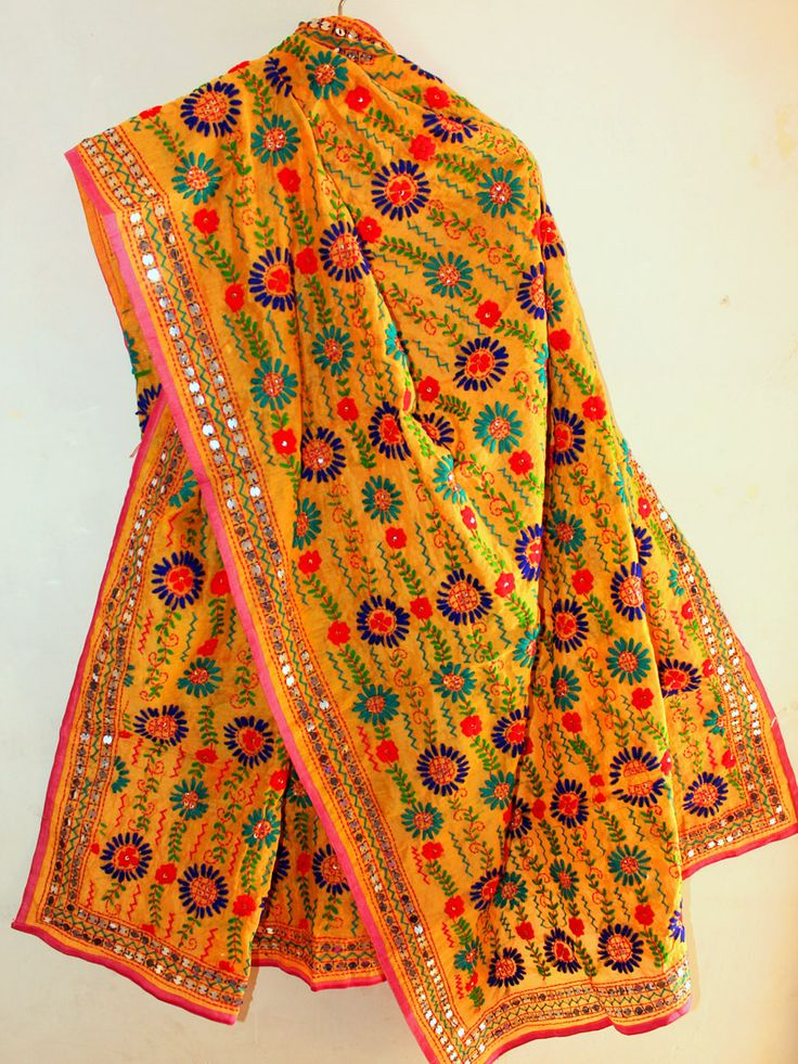 Buy Multicolor Fulkari Embroidered Yellow Chanderi Dupatta. #phulkari #phulkaridupatta #fulkari #dupatta #yellowphulkaridupatta #handembroideredfulkari #Shilphaat.com