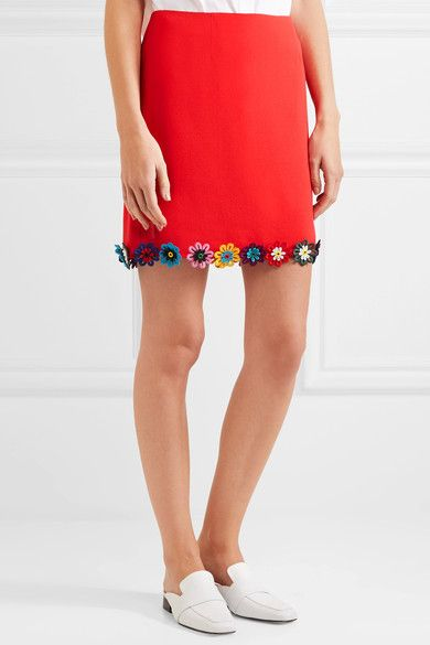 Red wool-crepe Concealed hook and zip fastening at back  100% wool; trim: 100% cotton; lining; 100% silk Dry clean  Made in ItalyMary Katrantzou's Resort '17 collection is filled with bold primary colors. Inspired by the '60s, this silk-lined 'Clovis' skirt is cut from wool-crepe in a neat A-line shape and edged with daisy appliqués along the hem. We like it best styled with the matching 'Shane' shirt.