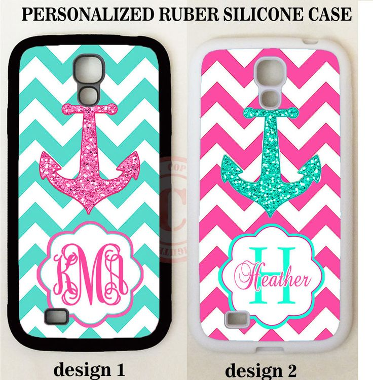 PERSONALIZED MONOGRAM MINT PINK CHEVRON ANCHOR CASE FOR SAMSUNG Galaxy S8 S7 S6 #UnbrandedGeneric