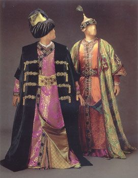 """Costume for Bajazet and Tamerlano, Act II, Handel's opera, """"Tamerlano"""", 1995 Glimmerglass production, designed by theatrical designer, Judy Levin. """"Inspired by"""", NOT period clothing."""