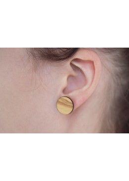 Wooden earstud incl. back in silver CHIARA