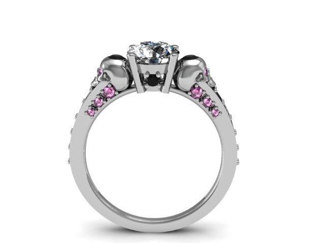 skull engagement ring - Skull Wedding Ring