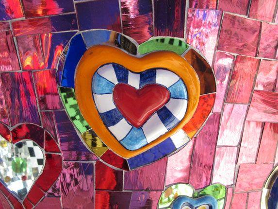 Heart mosaic at Niki de Saint Phalle sculpture garden in Tuscany