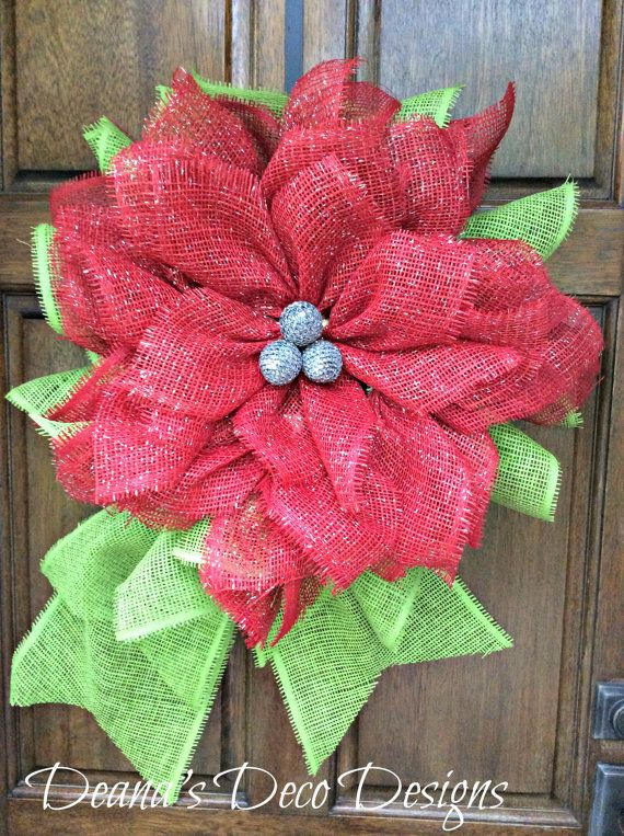 Poinsettia Flower Christmas Paper Mesh Wreath by DeanasDecoDesigns
