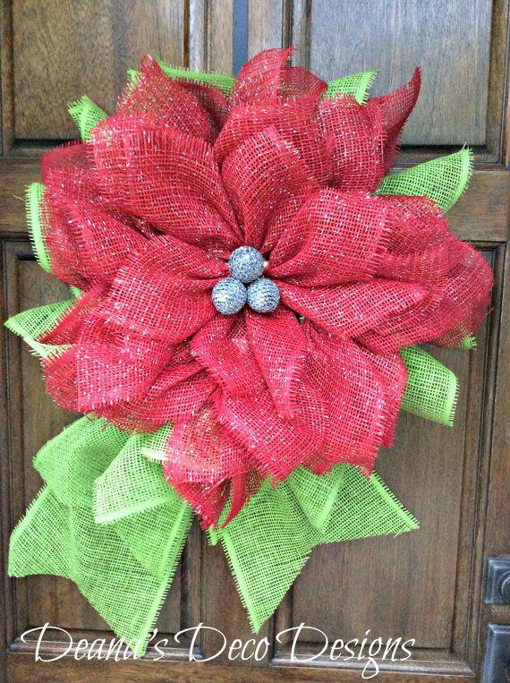 Poinsettia Flower Christmas Paper Mesh Wreath by DeanasDecoDesigns