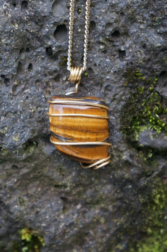 Tigers Eye Wire Wrapped Necklace by AquaWai on Etsy