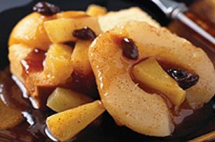 Warm fruit compote (I'd skip the butter and honey if fruits are in light syrup)
