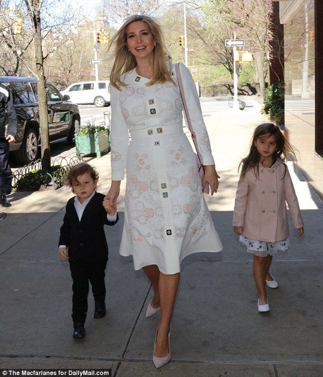 Ivanka (pictured with her daughter Arabella and son Joseph) looked radiant as she stepped out on Sunday