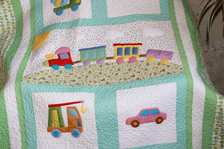 """Купить Покрывало детское """" Паровозик"""" - мятный, рисунок, покрывало с паровозиком, одеяло для мальчика"""