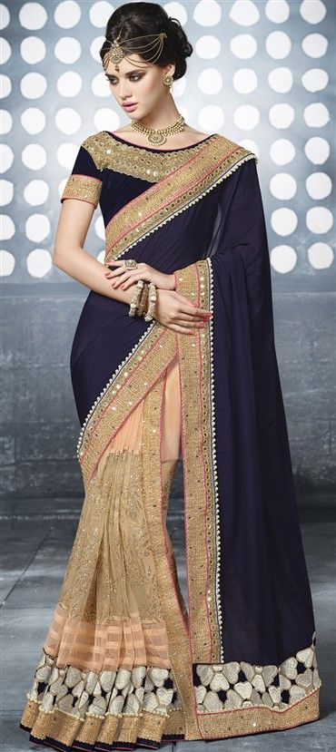 52deb1ce099061 ... Embroidered Sarees,Party Wear Sarees in Net,Satin fabric with Bugle  Beads,Lace,Machine Embroidery,Mirror,Zari work with matching unstitched  blouse.