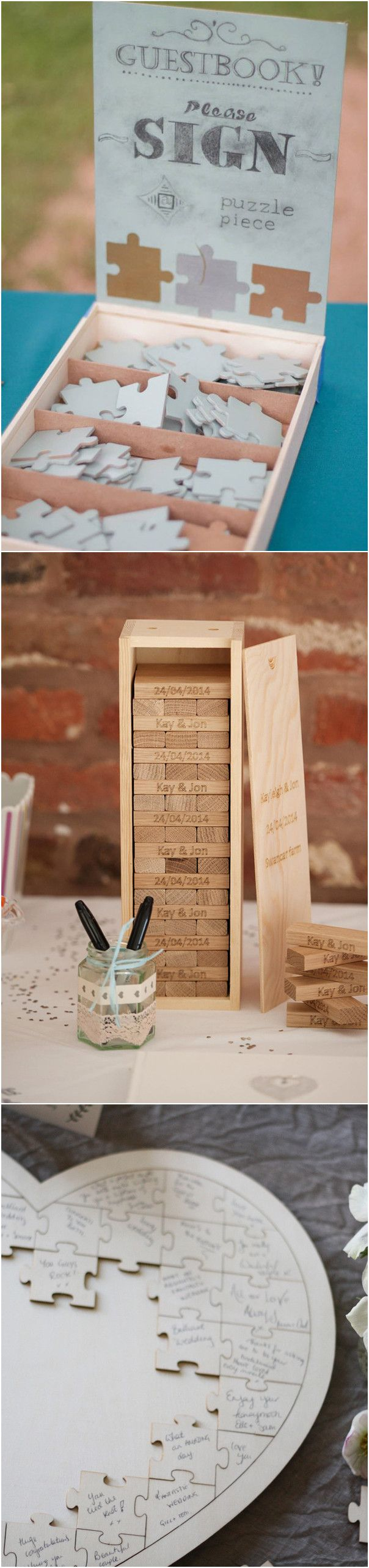 puzzles and jenga pieces unique wedding guest book ideas