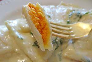 Gluten Free Ravioli with Butternut Squash Filling and Creamy Garlic Sauce